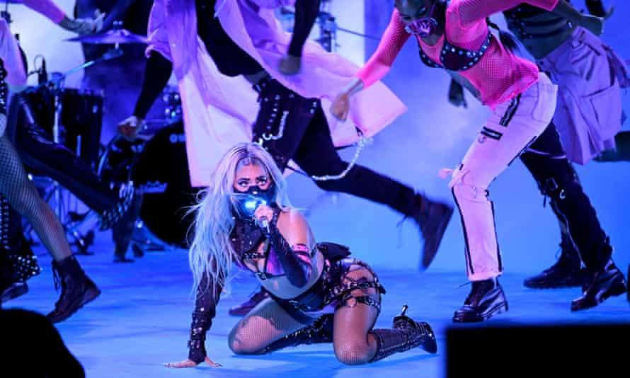 Lady Gaga performs masked up at the 2020 MTV Video Music Awards.