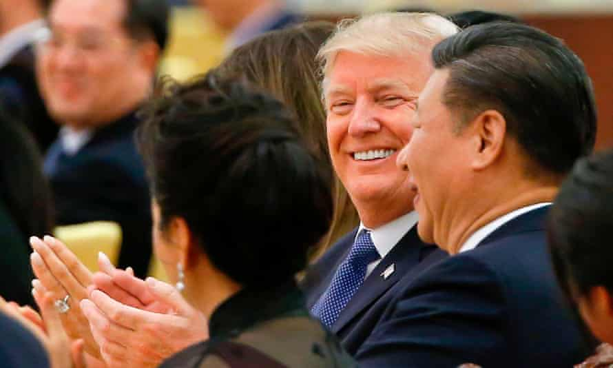 US President Donald Trump and China's President Xi Jinping attending a state dinner at the Great Hall of the People in Beijing on Thursday
