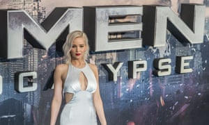 Jennifer Lawrence at X-Men Apocalypse premiere. Film company 20th Century Fox has apologised for a billboard featuring Lawrence's character Mystique being strangled.