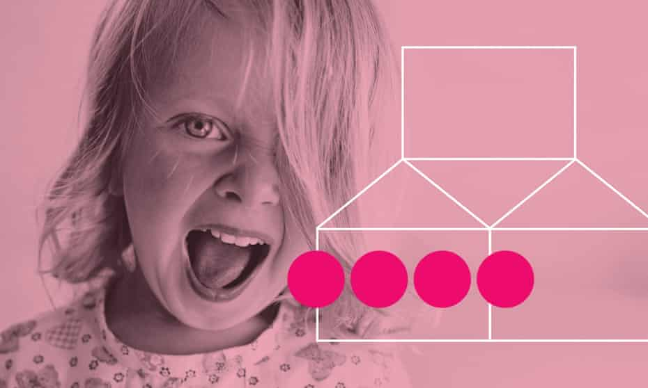 Young girl shouting with mouth open against pink background