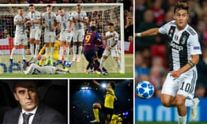 (Clockwise from top left) Marcelo Brozovic lies on the pitch to block a free kick by Barcelona's Luis Suárez, Juventus's Paulo Dybala in action, Borussia Dortmund's Axel Witsel celebrates and Real Madrid's beleaguered manager Julen Lopetegui.