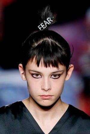 A model wears a diamante 'fear' barrette by Ashley Williams.
