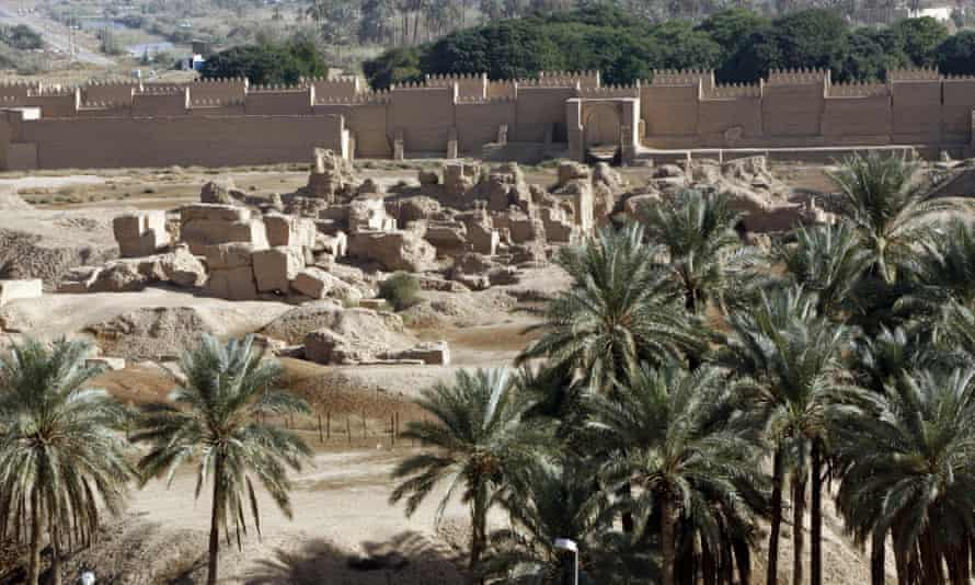 Palm trees at the ruins of the ancient site of Babylon, about 100km south of Baghdad