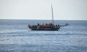 Asylum seekers on a boat near Christmas Island