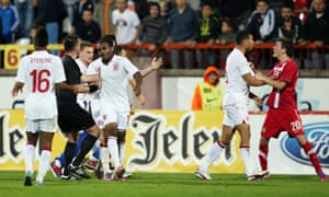 Danny Rose (centre) remonstrates with the referee, England Under-21s against Serbia Under-21s in 2012.