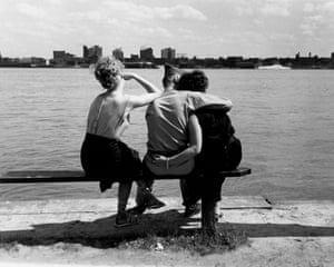 Bill Rauhauser (American, born 1918) Three on a Bench, Detroit River c 1952