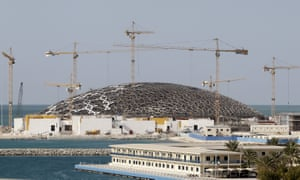 Construction site of the Louvre Abu Dhabi on Saadiyat Island