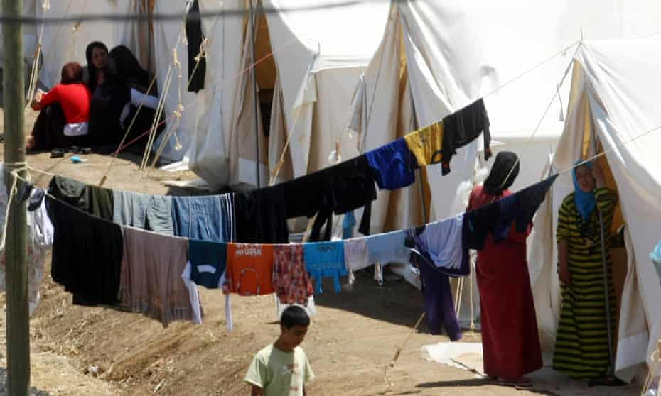 Syrian refugees at a camp in the Turkish border town of Yayladagi, in Hatay province.