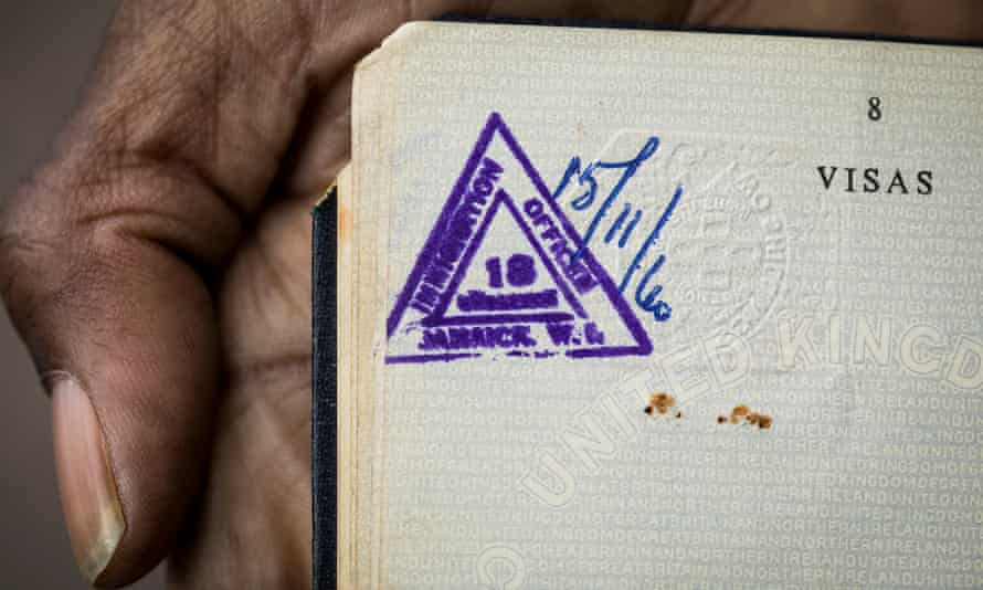 The stamp inside Howard's mother's passport, showing they were given indefinite leave to remain.
