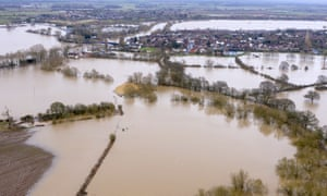 Floodwaters surround Upton upon Seven following Storm Dennis on February 19, 2020