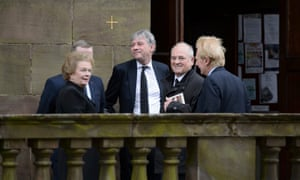 Helen Liddell (left), the former Labour Scottish secretary, and Richard Leonard (centre), the Scottish Labour leader, join mourners at the funeral of Michael Martin at St Aloysius in Glasgow this morning.