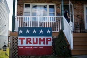 A Donald Trump sign outside the home of Marlon Michael, in Hagerstown, Washington County, Maryland.