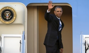 President Barack Obama boards Air Force One for his visit to Kenya and Ethiopia.
