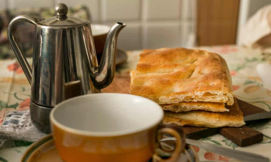 Coffee and focaccia for breakfast