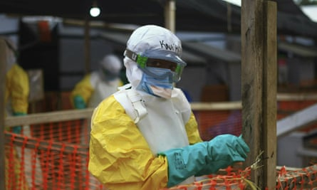 An Ebola health worker at a treatment centre in Beni, eastern Congo