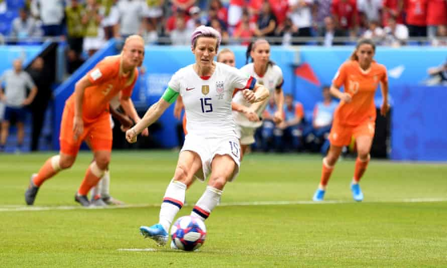 Megan Rapinoe of USA scores from the penalty spot.