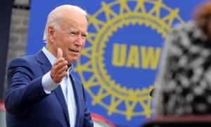Joe Biden speaks in Warren, Michigan, on 9 September.
