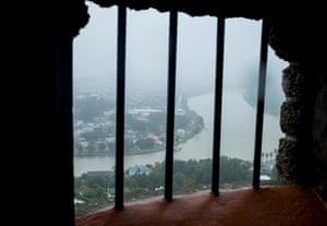 The Whanganui River on a rainy day from the top of the Durie Hill war memorial tower