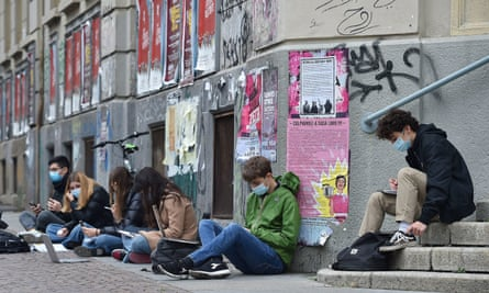 Students studying in the street in Turin