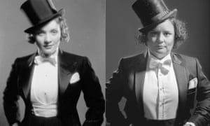 A composite picture of Marlene Dietrich and Susan Calman side by side dressed identically in top hat and tails.