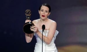 Claire Foy with her best lead actress award for The Crown.