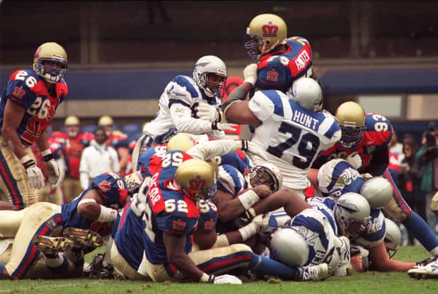 The London Monarchs take on the Scottish Claymores at White Hart Lane in 1996.