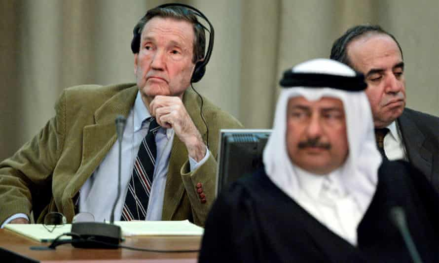 As part of Saddam Hussein's legal team, Ramsey Clark listens to proceedings as the former Iraqi president's trial resumes in Baghdad, in November 2005.