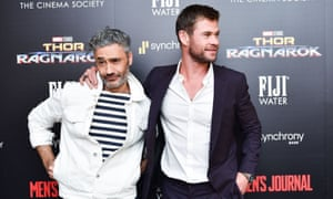 Director Taika Waititi and lead actor Chris Hemsworth at the Thor: Ragnarok film premiere, the film that's at the centre of the Disney/LA Times dispute