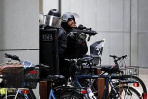 Paris, France Police officers patrol La Defense business district following reports of a gunman near Paris. Police evacuated hundreds of people from a shopping centre after a worker reported seeing a masked man carrying a rifle or shotgun. The police concluded it was a false alarm