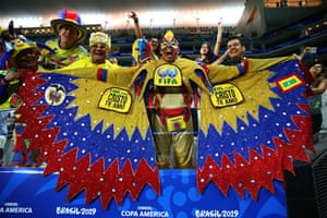 28 June 2019, Colombia v Chile, Arena Corinthians, Sao Paolo. Colombia fans cheers on their team during the quarter final.
