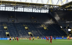 The enormous 'Yellow Wall' stand was empty as Bayern took on Dortmund at Signal Iduna Park last week.