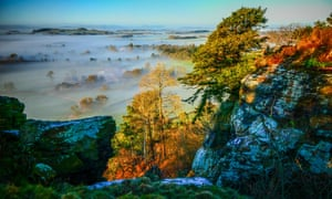 A photo from the viewpoint at Grinshill and Corbet Wood, near Shrewsbury in Shropshire on 27 February. The image has had a colour enhancer effect applied to it.
