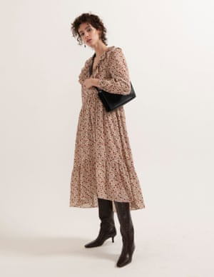 model wears dress, £49, warehouse.co.uk. Boots, £159, zara.com. Leather bag, £79, cosstores.com. Earrings, £202, annilu.dk.