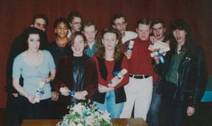 Lynsey Hanley (second from left, front row) returns to old school to collect GCSE certificate, October 1992