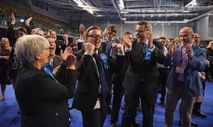Conservative Thomas Kerr celebrates winning a Glasgow council seat.