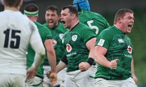 Tadhg Furlong of Ireland celebrates a scrum penalty.