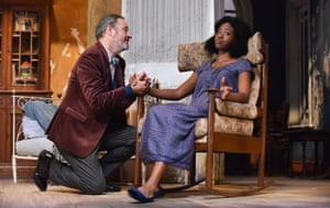 Looking both backards and forwards … Robin Kingsland as Gayev and Evlyne Oyedokun as Anya in The Cherry Orchard.