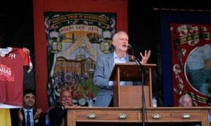 Jeremy Corbyn addresses the Durham Miners' Gala