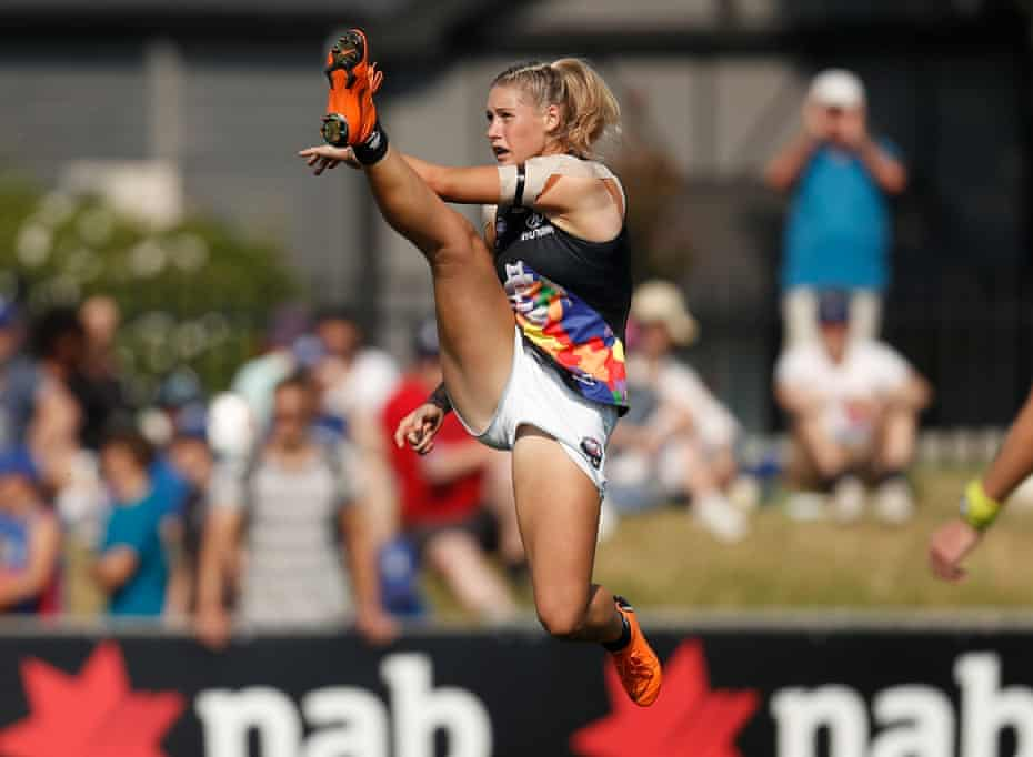This photograph of AFLW player Tayla Harris in mid-kick took out the top prize in the Women in Sport Photo Action awards