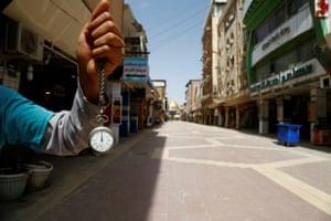 An almost empty market near the Imam Ali shrine in Najaf, Iraq