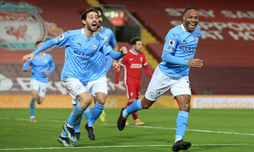 Raheem Sterling (right) and Bernardo Silva during Manchester City's 4-1 win against Liverpool at Anfield in February.