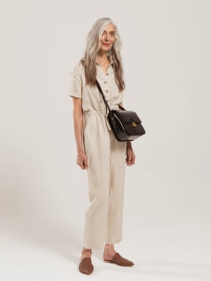Model wears jumpsuit, £115, and slippers, £125, both by Iris & Ink, from theoutnet.com. Bag, £99, marksandspencer.com.