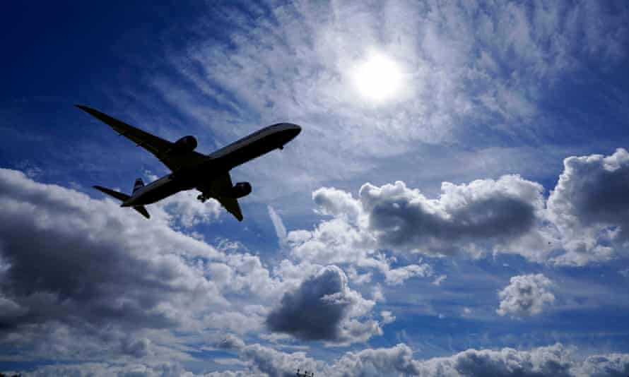 A plane above London Heathrow airport.