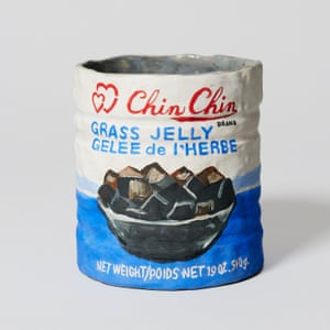 Chin Chin Grass Jelly porcelain grocery artwork  by artist Stephanie H Shih.
