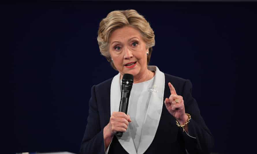 Hillary Clinton makes a point during the debate.