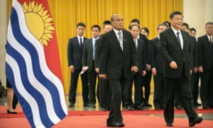 Kiribati's President Taneti Maamau with China's President Xi Jinping in Beijing
