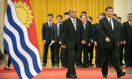 Kiribati's President Taneti Maamau, left, and Chinese President Xi Jinping at the Great Hall of the People in Beijing, in January, 2020.