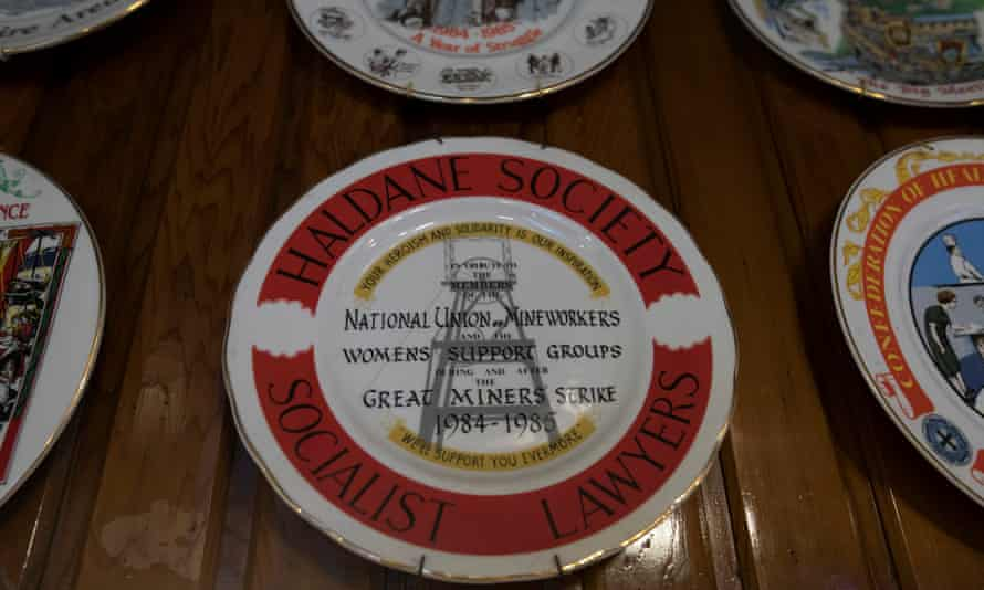 Ornamental plates commemorating strikes hung on the walls of the Wakefield Labour Club, also known as The Red Shed.