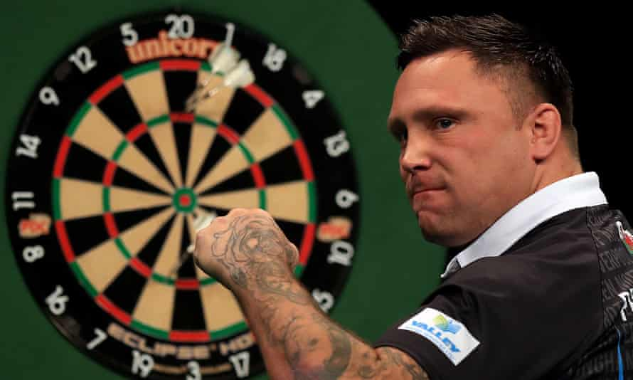 Gerwyn Price celebrates during a Premier League Darts match in Nottingham in February 2020.