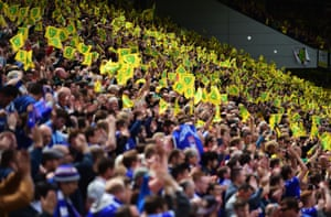 Norwich and Ipswich fans at the 'Old Farm' derby.